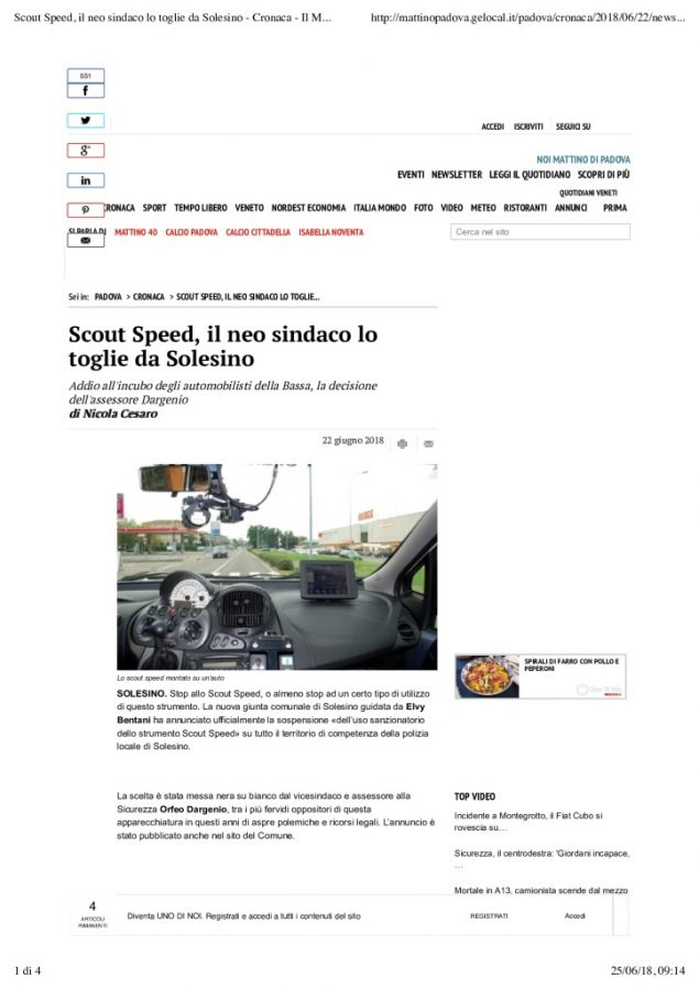 Scout Speed, il neo sindaco lo toglie da Solesino – Cronaca – Il Mattino di Padova