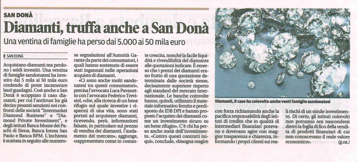 Diamanti, truffa anche a San Donà
